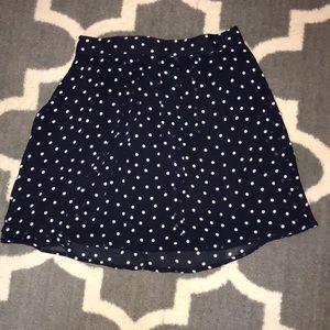 Navy circle skirt with white polka dots